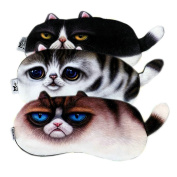 Ayygiftideas 3Pcs Lovely 3D Tail Cat Eye Mask Cute Cold Hot Therapy Eyepatch