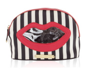Betsey Johnson Kiss Marks the Spot Cosmetic Case -Stripe