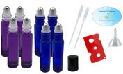 Essential Oil - 4 Purple and 4 Cobalt Blue 10ml Roller Bottles with Stainless Steel Balls, Pipettes, Funnel, and Essential Oil Bottle Opener