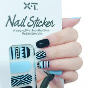 X.T Nail Polish Strips Blue Chevrons Nail Sticker