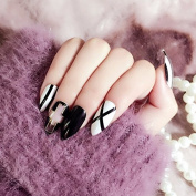 24 Pieces Christmas Long Black White Cross False Nails