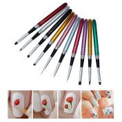 Naimo 10pcs Nail Art Brush and Dotting Tool Set Nail Art Design Painting Drawing Brushes
