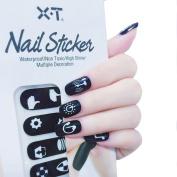X.T Nail Polish Strips black and white icon set Nail Sticker