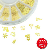 Fireboomoon Nail Glitter Sequins Sticker, 3D Slice Golden Christmas Nail Sticker,Nail Art Sticker (Approx.220 PCS