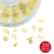Fireboomoon Nail Glitter Sequins Sticker, 3D Slice Golden Christmas Nail Sticker,Nail Art Sticker (Approx.220 PCS
