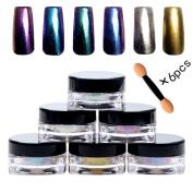 PhantomSky 6 Colour Nail Glitter Shinning Mirror Chrome Nail Powder Manicure Pigment #1