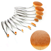 LAY 10PCS Oval Makeup Brush Toothbrush Set Professional Foundation Contour Concealer Blending Cosmetic Brushes
