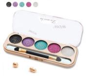 SUKRAGRAHA Makeup Eye Shadow Shinny Powder 5 Colour Set with Brush Sexy Purple