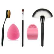 Sipaike Professional Large Fan Makeup Brush - Toothbrush Curve Contour Facial Brushes- Eye Brush - Cosmetics Brushes Silicone Makeup Brush Cleaner- Makeup Sponge Set Kit