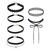 OVERMAL 6 Pieces Choker Necklace Set Stretch Velvet Classic Gothic Tattoo Lace Choker