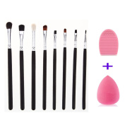 Makeup Eye Brush Set-Eyeshadow Eyeliner Blending-Crease Kit- 8 Essential Cosmetic Makeup Eye Brushes-Pencil, Shader, Tapered, Definer-Last Longer WIth Brush Cleaner and Sponge Blender by Sipaike