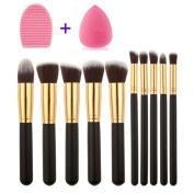 Sipaike 10pcs Makeup brushes Tools Cosmetic Foundation Cream Powder Blush Make up Brush Set + Makeup Brush Cleaner + Makeup Sponge Kit