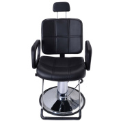 Real Relax Adjustable Hydraulic Recline Barber Chair for Salon Shampoo Beauty Spa Black