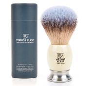 VIKINGS BLADE Luxury Badger Brush, Heavy Swedish Alloy Base + Ivory Tusk Acrylic, White Knight