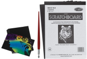 Scratchboard Artists Drawing Pack - Black Coated 22cm x 28cm boards with Scratch Metal Tool / Pen & 4 ARTIST TRADING CARDS Multi Coloured art bundle