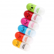 Refaxi 6Pcs Smiling Face Pill Shape Ballpoint Pen Cute Emotion Favour Telescopic Vitamin Capsule Retractable Ball Pen