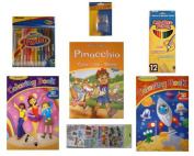 Classic Tales Colour The Story/2 Colouring Books/Crayons/Coloured Pencils/Stickers/7-pc Bundle