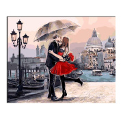 Rihe Diy Oil Painting by Numbers, Paint by Number Kits-Romantic Kiss Lover-PBN Kit for Adults Girls Kids Christmas 41cm x 50cm