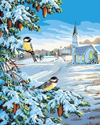 Lovebaby Oil Painting Paint By Number Kit Digital Oil Painting Birds in Winter 41cm X 50cm