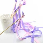 Mandydov 10pcs Ribbon Wands Twirling Wedding Ribbon Streamers Stick