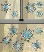 Silver & Blue Snowflakes 3-D Window Clings Decoration Large