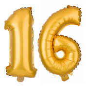 Large 16 Number Balloons for 16th Birthday Party, Decorations & Party Supplies