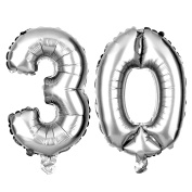 30 Large Balloons for Birthday or Anniversary Party, Number Decorations
