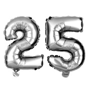 25 Party Balloons for 25th Birthday or Anniversary, Number Decorations Supplies
