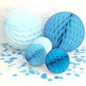 Set of 6 Mixed 2 Sizes Turquoise & Baby Blue Paper Honeycomb Ball Wedding Christening Baby Shower Party Hanging Decoration