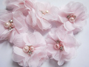 YYCRAFT Pack Of 20 Pieces Chiffon 5.1cm Flower Rhinestone Pearl for craft projects-Baby Pink