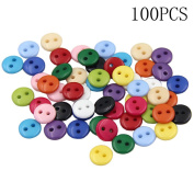 GogoForward 100Pcs 11MM Mix DIY 2 Holes Round Resin Buttons Scrapbooking Sewing Craft