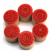 Gaobei 6 Pieces Floral Pattern Round Wooden Rubber Stamp for Scrapbooking