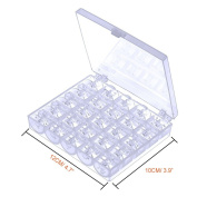 Paxcoo 50 Pcs Bobbins and Sewing Thread with Case and 2 Pcs Soft Measuring Tapes for Brother Singer Babylock Janome Kenmore