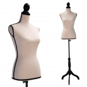 Female Mannequin Torso Dress Form Clothing Display W/Black Tripod Stand Beige