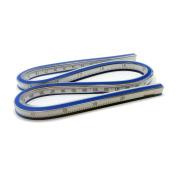 T & B 20 Inch (50cm) Flexible Curve Ruler Helix Drafting Drawing Measure Tool Soft Plastic Tape Measure Ruler Blue/White
