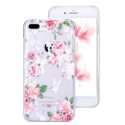 iPhone 7 Plus Clear Case,IKASEFU Creative Hard PC Back+Soft Frame Slim Fit Pretty Rose Flower Design Clear Silicone Case Cover for iPhone 7 Plus 14cm -#15
