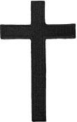 Cross Black Sew Iron on Embroidered Patch
