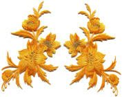 Amber yellow orange flowers pair floral embroidered appliques iron-on patches S-1288