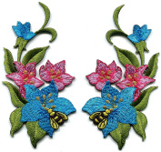 Blue pink lilies flowers pair bees embroidered appliques iron-on patches new S-1287