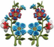 Blue red silver wildflowers pair flowers embroidered appliques iron-on patches new S-1286