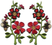 Red black gold wildflowers pair flowers embroidered appliques iron-on patches S-1285