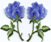 Royal blue roses pair flowers embroidered appliques iron-on patches S-1284