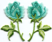 Turquoise blue green roses pair flowers embroidered appliques iron-on patches S-1283