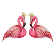 CROWNED FLAMINGO PAIR EMBROIDERED IRON-ON PATCH APPLIQUÉ FASHION SET TWO DECORATIVE PATCHES