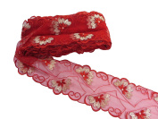 2 Yards 7cm Vintage Floral Lace Trim DIY Sewing Crafts red