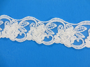 2 Yards 4.5cm Polyester Lace Trim Costume DIY Sewing Crafts Off White