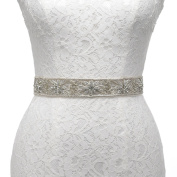 Remedios Hand Sewn Silver Indian Silk Metal embroidery Luxury Vintage Wedding Belt for Women Bride Dress Gown