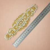 Remedios Gold AAA Rhinestone Applique for Evening Homecoming Party Dress Gown Accessories