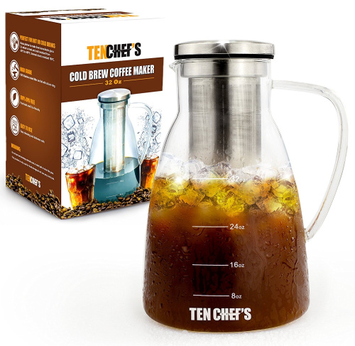 Cold Brew Coffee Maker And Hyper Iced Tea Infuser By TenChef s (950ml) - 1 Litre