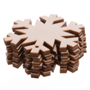 Pack Of 10 80MM Wooden Snowflake Cutouts for Kids Crafts Christmas Tree Ornaments Hanging